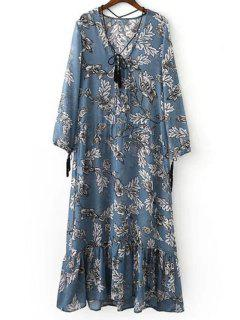 Printed Plunging Neck Long Sleeve Maxi Dress - Ice Blue L