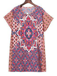 Printed Round Collar Short Sleeve Dress - M