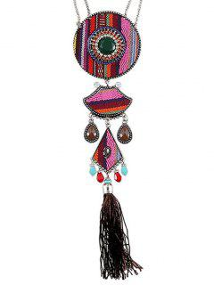 Tassel Ethnic Style Pendant Necklace - Pink