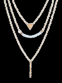 Collar Colgante Triángulo Barra Con Cuentas - Dorado