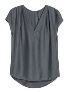 T-shirt Couleur Pure Col V Manches Courtes - Gris Foncé S