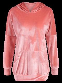 Hooded Long Sleeve Velvet Casual Dress - Pink L
