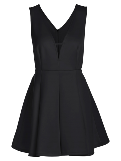 Solid Color Plunging Neck Sleeveless Flare Dress - Black S
