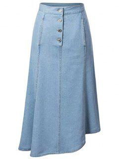 Hip Pockets Asymmetrical Denim Skirt - Light Blue Xl