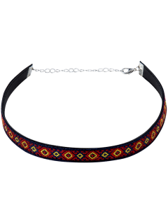 Square Pattern Embroidery Choker - Purplish Blue