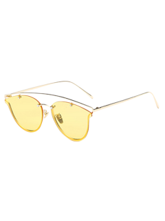 Transparent Lens Crossbar Butterfly Sunglasses - Yellow