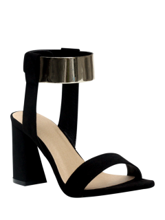 Black Flock Chunky Heel Sandals - Black 36