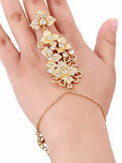 Rhinestone Flower Ring And Wrist Chain - Golden
