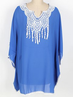 Loose Lace Spliced Round Neck Bat-Wing Sleeve Cover Up - Blue