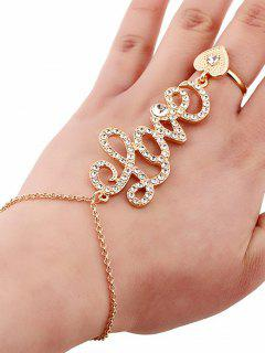 Rhinestone Heart Ring And Wrist Chain - Golden