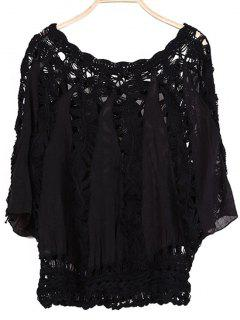 Batwing Sleeve Crochet Blouse - Black