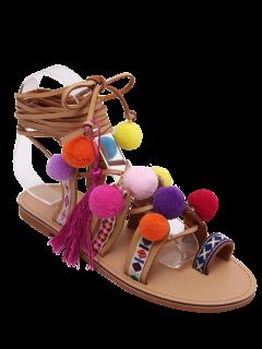 Toe Ring Tie Up Pompon Sandals - Light Brown 38