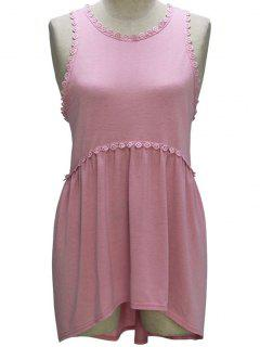 Loose Fitting Round Collar Sleeveless T-Shirt - Pink M