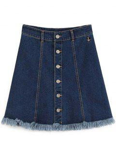 Button-Front Denim Skirt - Deep Blue L
