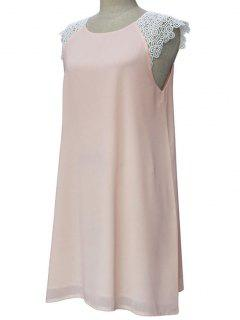 Sleeveless Round Collar Lace Spliced Dress - Light Pink Xl