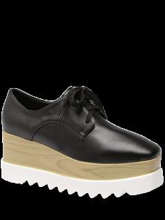 Square Toe Lace-Up Platform Shoes - Black 40