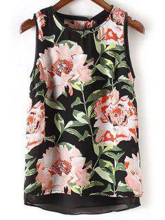 Floral Jewel Neck Sleeveless Tank Top - L
