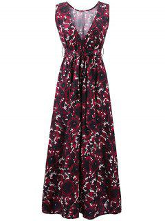 Floral Print Round Collar Sleeveless Maxi Dress - Claret Xl
