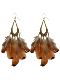 Water Drop Feather Tassel Earrings - Antique Brown