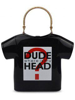 T-Shirt Shape Letter Print Evening Bag - Black