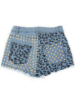 Dril De Algodón Del Remache Embellecido Bolsillos De Pantalones Cortos - Azul Hielo S