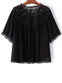 Slash Neck Lace Trim Blouse - Black S