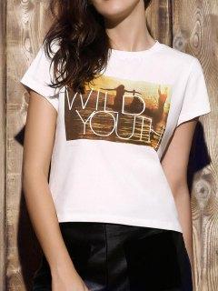 Modelada Recortada Camiseta Blanca - Blanco S