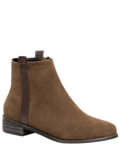 Rounde Toe Side Zip Suede Boots - Brown 38