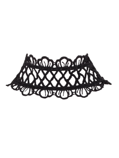 Lace Crown Choker Necklace - Black