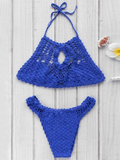 Blue Crochet High Neck Bikini Set - Blue