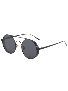 Crossbar Round Vintage Sunglasses - Black