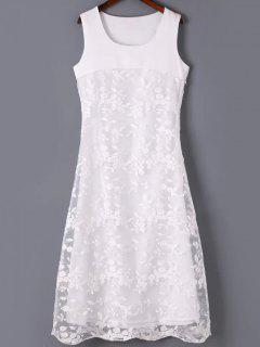 Organza Empalmado Cuello Redondo Vestido Sin Mangas Bordado - Blanco L