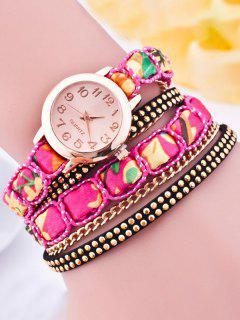 Quartz Montre Avec Bracelet De Cuir Faux - Rose