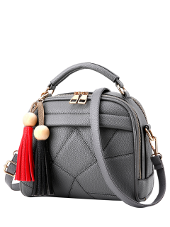 Geometric Pattern Stitching Tassels Crossbody Bag - Gray