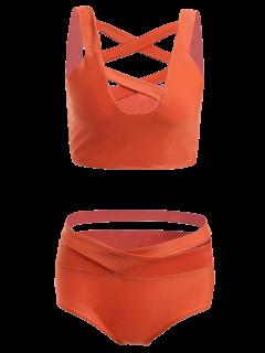 Solid Color Hollow Out Straps Bikini Set - Jacinth S