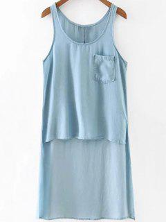 High Low Hem Scoop Neck Sleeveless Tank Top - Light Blue L