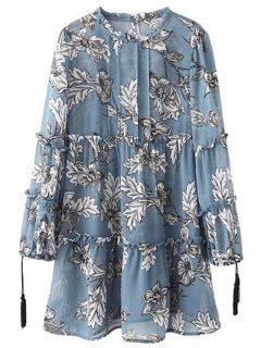 Printed Round Collar Long Sleeve Loose Dress - Ice Blue L