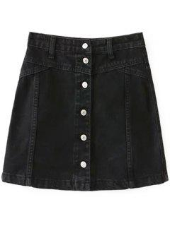 A Line Button Up Denim Skirt - Black Xs