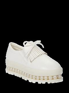 Fringe Faux Pearl Slip-On Platform Shoes - White 39