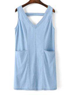 V-cuello Una Línea De Vestidos Tanque - Azul L