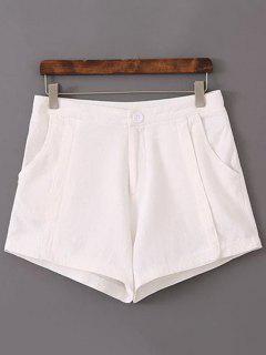 Shorts Couleur Pure Taille Haute - Blanc 40