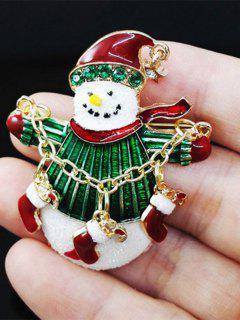Christmas Rhinestone Snowman Enamel Brooch - Green