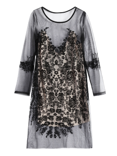 Durchsichtiges Mesh Kleid Mit Spitze - Schwarz