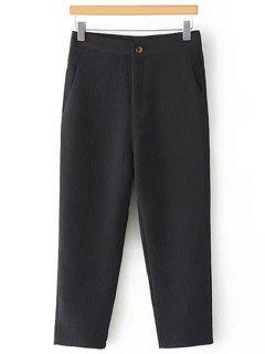 Pleated Straight Leg Capri Pants - Black L