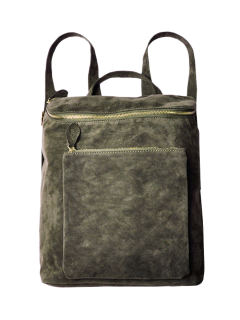 Casual Zips Suede Backpack - Army Green