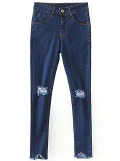 Slimming Ripped Solid Color Jeans - Deep Blue L