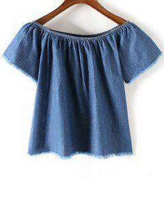 Dril De Algodón Azul Del Hombro De Manga Corta De La Camiseta - Azul L