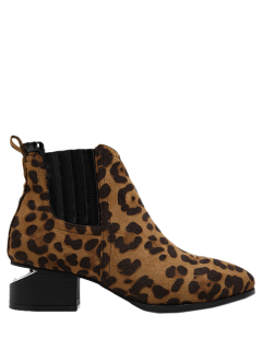 Leopard Print Splicing Stitching Ankle Boots - Leopard 38