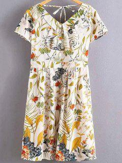 Floral Print Flat Collar Short Sleeve Back Crossed Dress - White L