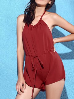 Backless Drawstring Halter Romper Solid Color - Rouge L